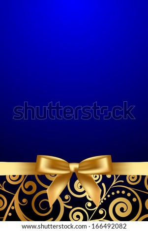 Vector blue and gold luxury frame with gold ribbon - stock vector