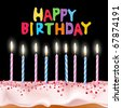"""vector blue and pink candles on a birthday cake with the words """"Birthday"""" - stock vector"""