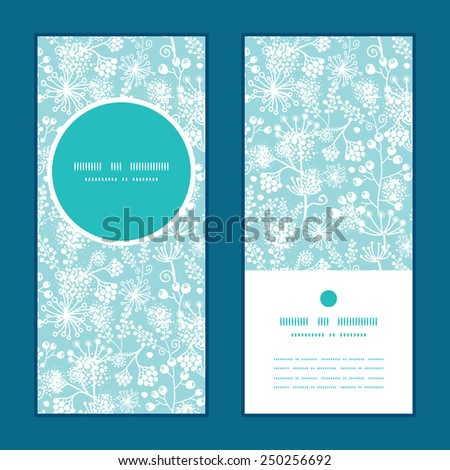Vector blue and white lace garden plants vertical round frame pattern invitation greeting cards set - stock vector