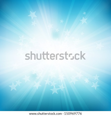 Vector blue background of stars and rays. Eps 10 file with transparencies. - stock vector