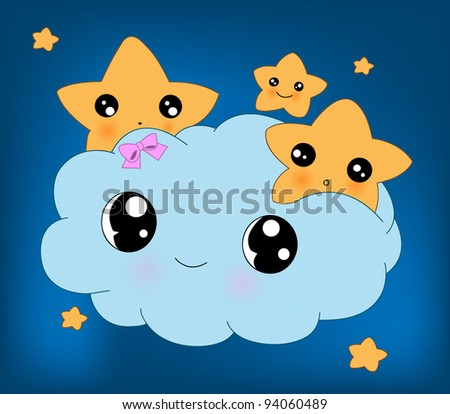 Vector blue background with clouds and the stars - stock vector