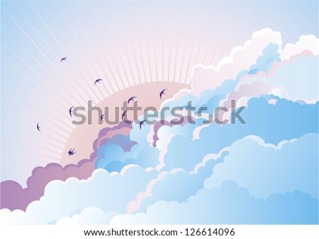 Vector blue  background with flying Swallows on cloudy sky