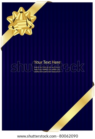 Vector blue background with gold bow - stock vector