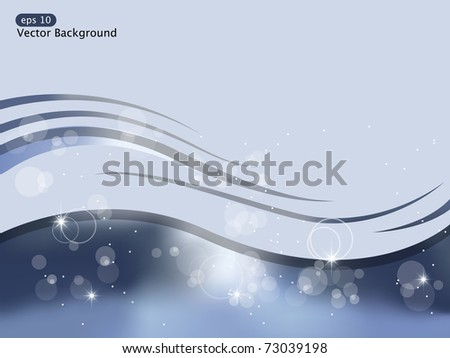 Vector blue background with waves and light - stock vector