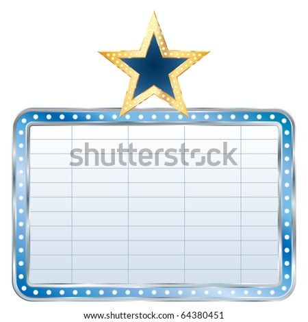 vector blue blank billboard with star - stock vector