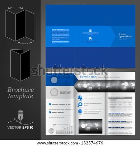 Vector blue brochure template design. EPS 10 - stock vector