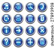 Vector blue buttons with symbols. - stock vector