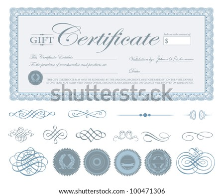 Vector Blue Certificate Border and Ornaments. Easy to edit. - stock vector