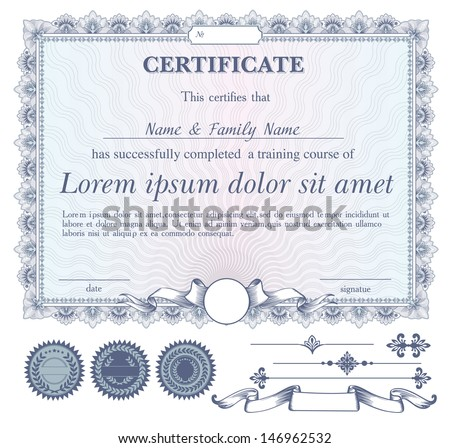 vector blue certificate or coupon template with additional design elements - stock vector