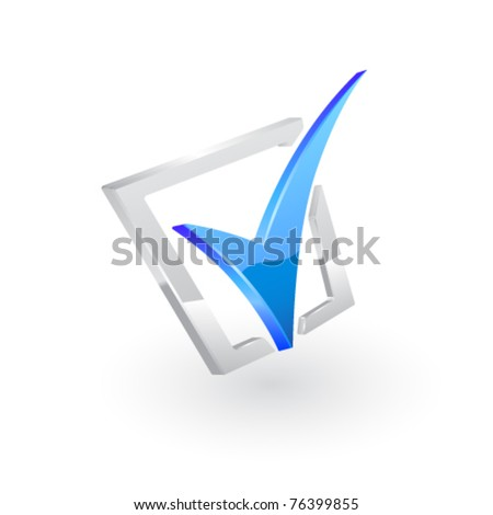 Vector blue checkmark. - stock vector