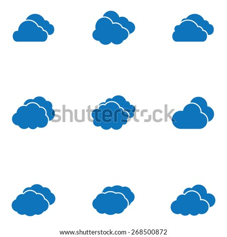 Vector blue cloud icons set