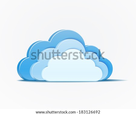 vector blue clouds infographics element on white background - stock vector