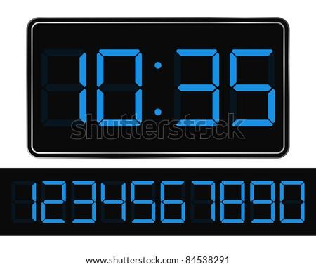 Vector Blue Digital Clock - stock vector