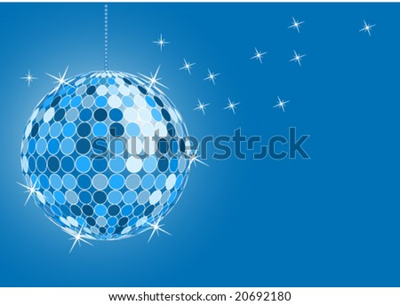 vector blue disco ball with sparking star