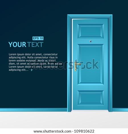 Vector blue door in the dark wall for text - stock vector