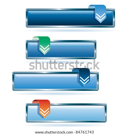 vector blue download buttons - stock vector