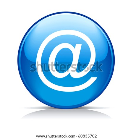 Vector blue e-mail internet icon button - stock vector