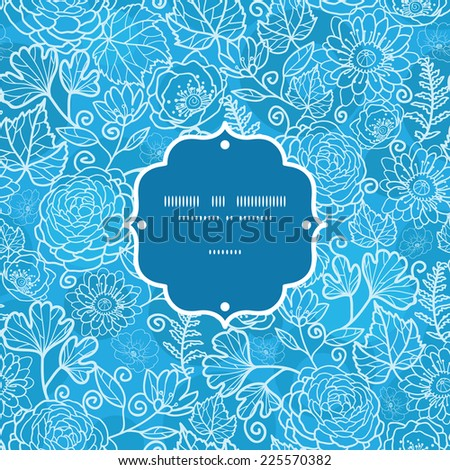 Vector blue field floral texture frame seamless pattern background - stock vector
