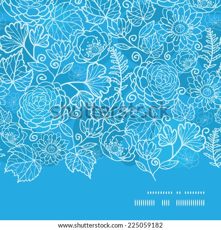 Vector blue field floral texture horizontal frame seamless pattern background - stock vector