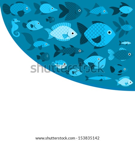 Vector Blue Fishes And Space For Text