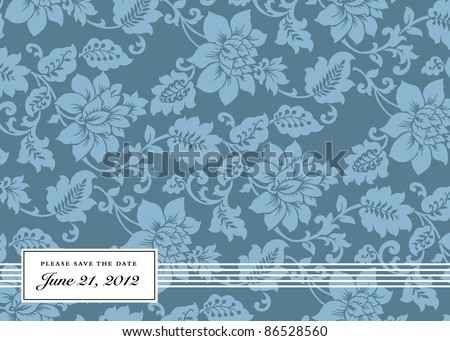 Vector Blue Floral Background and Frame. Easy to edit. Perfect for invitations or announcements. - stock vector