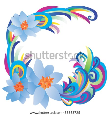 vector blue flowers