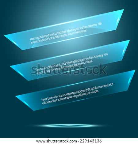 Vector blue glass banners. Vector illustration.