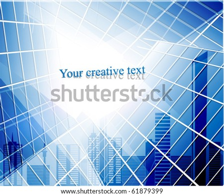 Vector. Blue glass wall and abstract city - stock vector