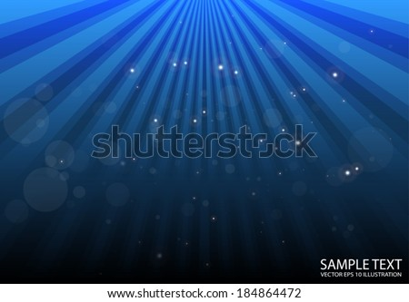 Vector blue glittering background  - Abstract blue rays spreading illustration - stock vector