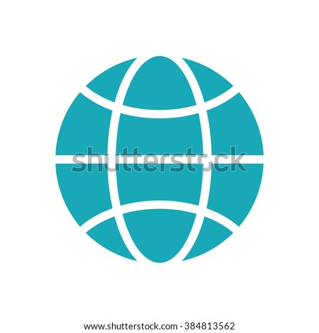 Vector blue globe icon isolated on white background. Global design concept. Globe symbol for web, print. Vector globe icon design element.Earth logo. Vector design element.