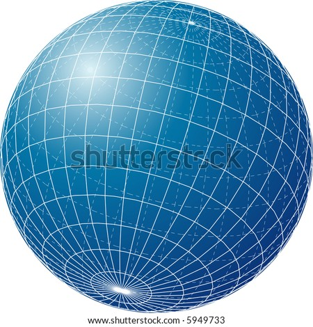 vector blue globe isolated on white - stock vector