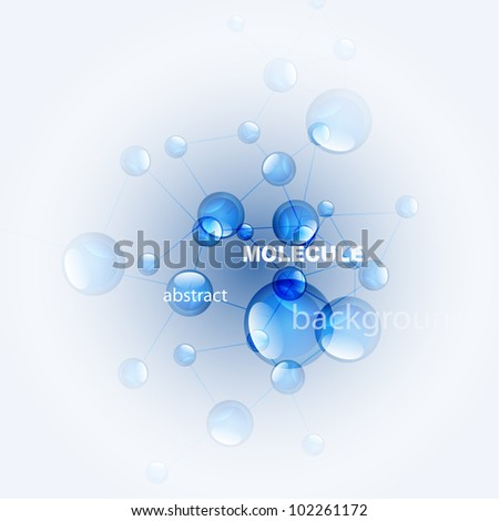 Vector blue glossy molecule background - stock vector