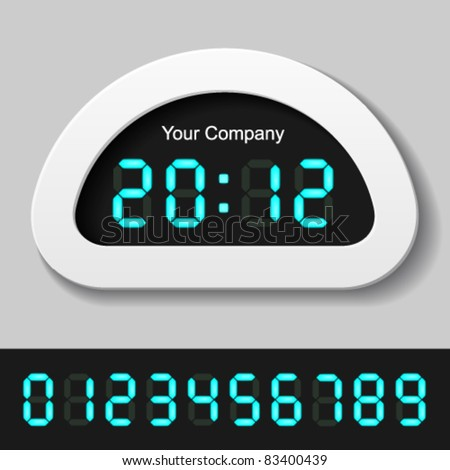 vector blue glowing digital numbers - clock or counter - stock vector