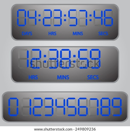 vector blue glowing digital numbers - countdown timer  - stock vector