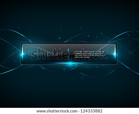 Vector blue glowing glass banner over abstract light background - stock vector