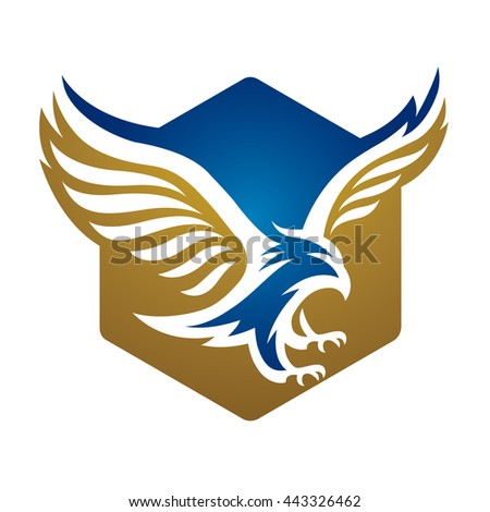 Vector Blue Gold Eagle Fly