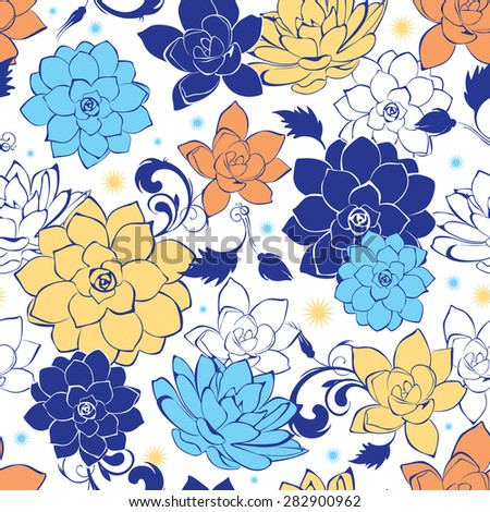 Vector blue gold flowers seamless pattern - stock vector