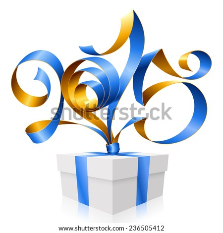 Vector blue golden ribbon in the shape of 2015 and gift box. Symbol of New Year - stock vector