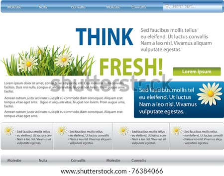 Vector blue-green website with flowers in grass - stock vector