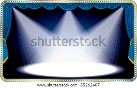 vector blue horizontal stage with three white spot light - stock vector