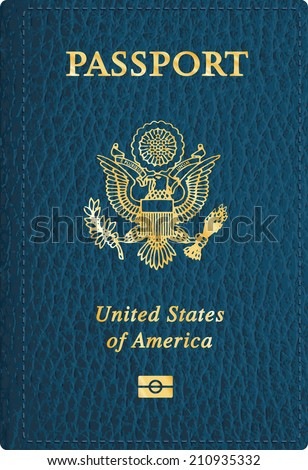 vector blue leather USA passport cover  - stock vector