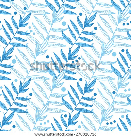 Vector blue line art leaves seamless pattern background - stock vector