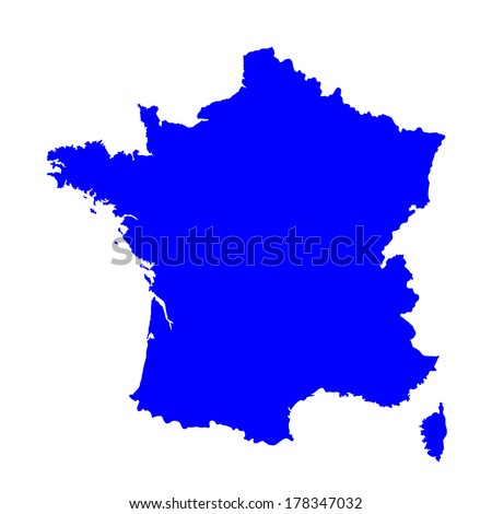 Vector blue map of France isolated on white background.High detailed. - stock vector