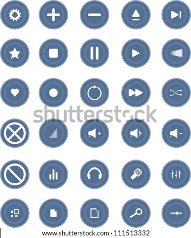 Vector blue Media and Entertainment Web Icons