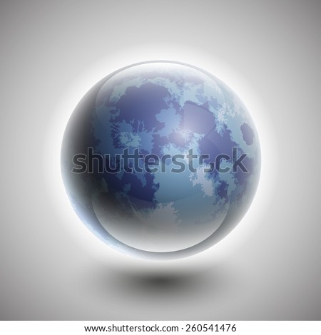 Vector blue moon in the starry night sky - stock vector