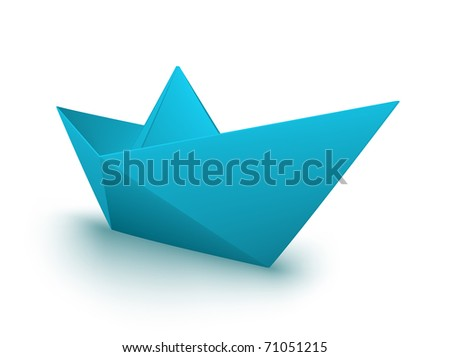 vector blue origami boat - stock vector