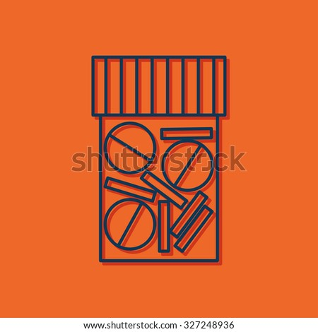 Vector blue outline tablet bottle on orange background with shadow . Health icon  - stock vector
