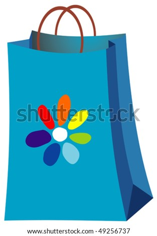 vector blue paper bag with a flower pattern