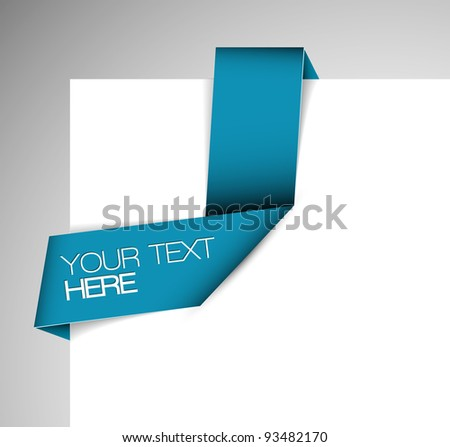 Vector Blue Paper origami ribbon / bookmark - stock vector
