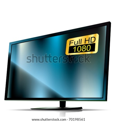 Vector Blue Plasma Tv. 3D - stock vector